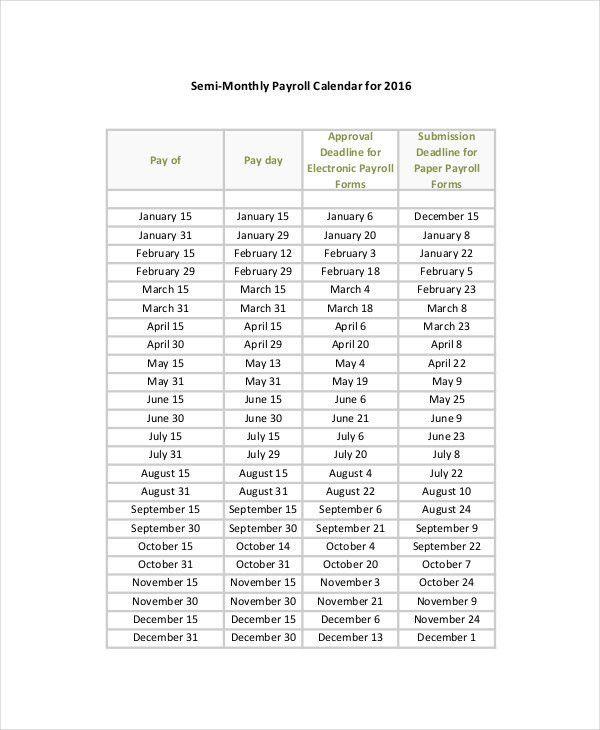 Payroll Calendar Template   Template Design