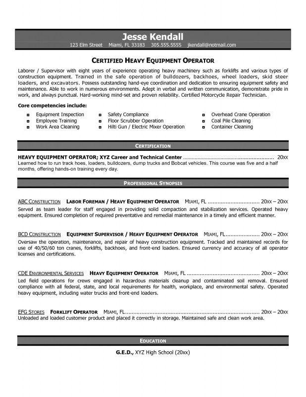 Resume For Heavy Equipment Operator | Samples Of Resumes