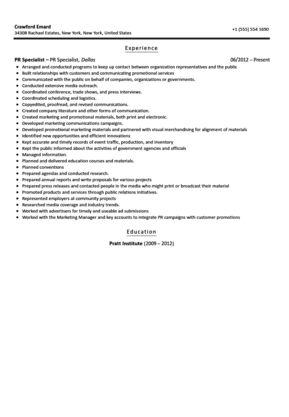 Public Relations Specialist Resume Sample | Velvet Jobs