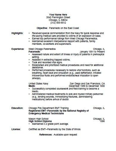 Firefighter Resume Template. Emt Resumes Emt Resume Samples Resume ...