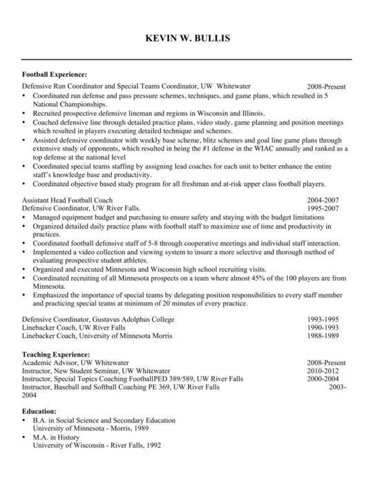 Amusing Football Coach Resume 38 On Creative Resume With Football ...