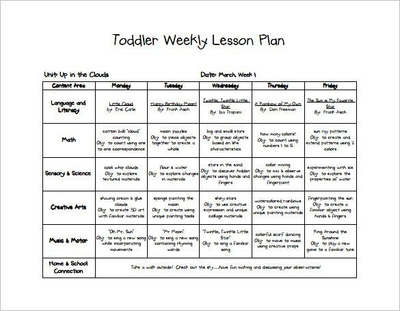 Toddler Lesson Plan Template – 10+ Free Word, Excel, PDF Format ...