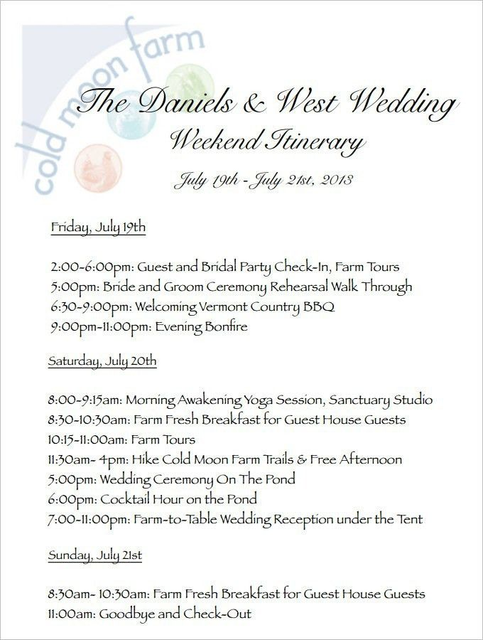 Wedding Weekend Itinerary Template | Template idea