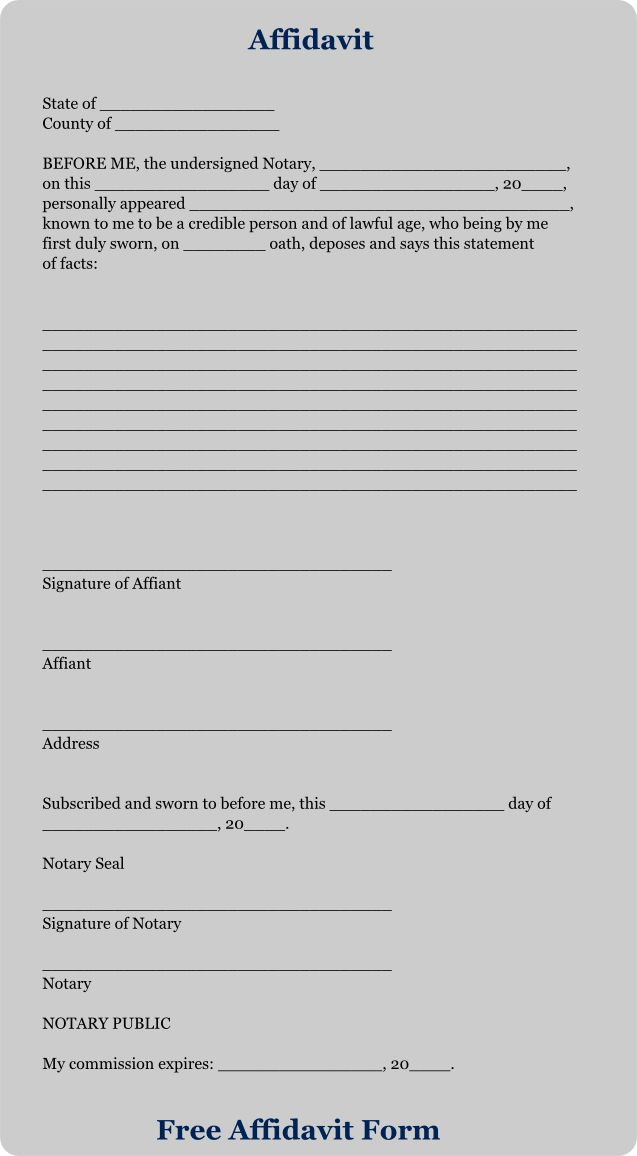 Download Free Affidavit Forms - Free Affidavit Form