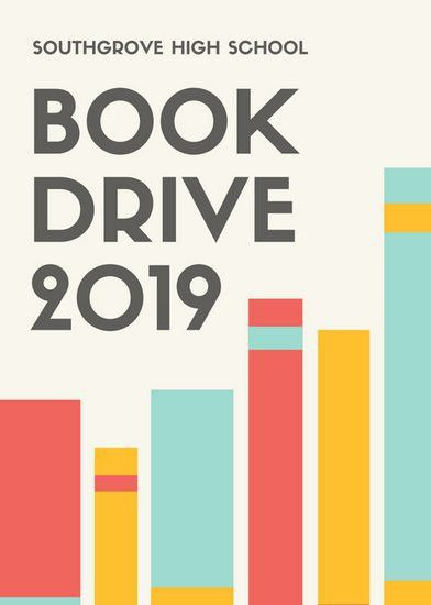 Red Yellow Blue Book Drive Fundraising Flyer - Templates by Canva