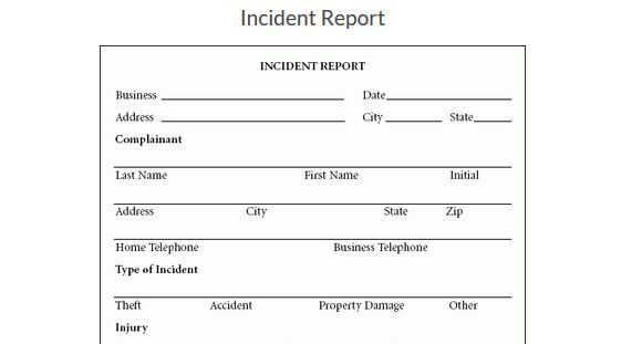 Incident Report | Free Word and Excel Templates