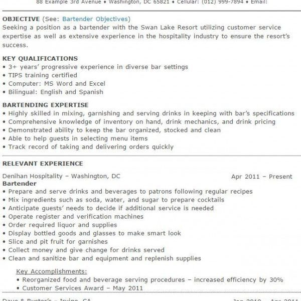 Bartenders Duties Resume. sample of waitress resume resumes for ...
