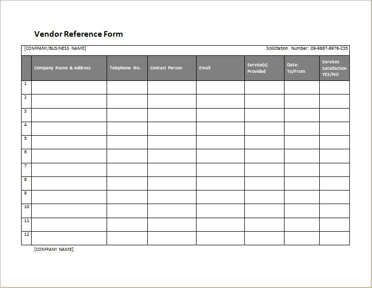 Vendor Reference Form Template for WORD | Word & Excel Templates