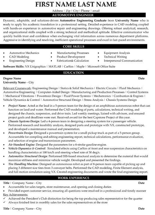 Automotive Engineer Sample Resume 7 Automotive Mechanic Resume ...