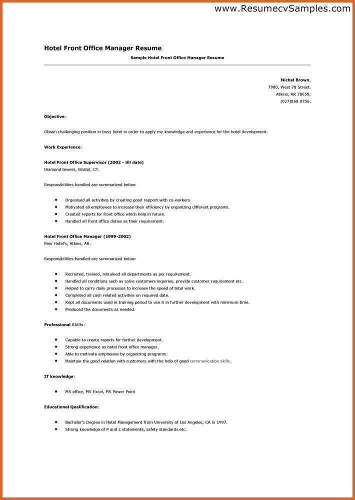 Resume Sample Of Hotel Front Desk Clerk - Templates