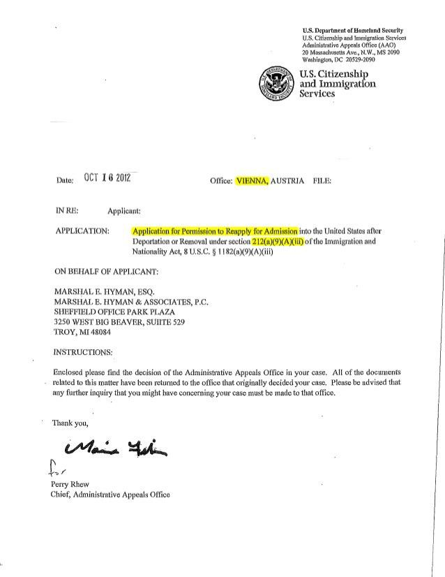 AAO non precedent 212(i) sustained appeal Oct 16, 2012 and more