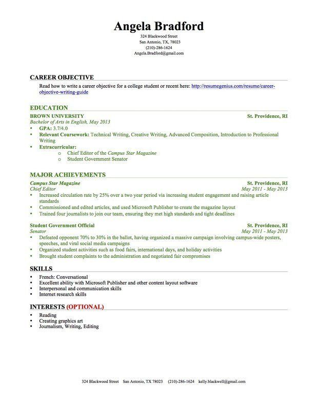 Resume Example For College Student | berathen.Com