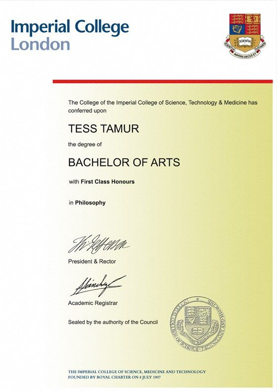 Frame for degrees from Imperial College of Science, Technology and ...