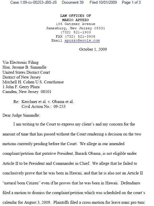 Letter of Inquiry by Atty Apuzzo Sent to Judge Simandle 1 Oct 09 ...