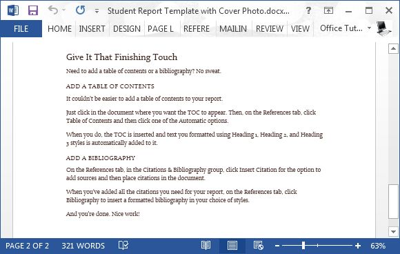 Free Student Report Word Template