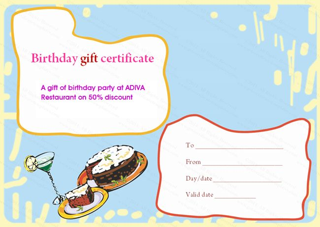 Multicolored Birthday Cake Gift Certificate Template | Beautiful ...