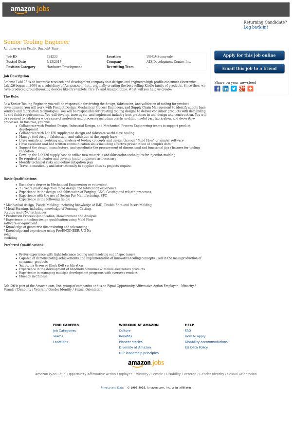 Senior Tooling Engineer job at Amazon in Sunnyvale, CA | Tapwage ...