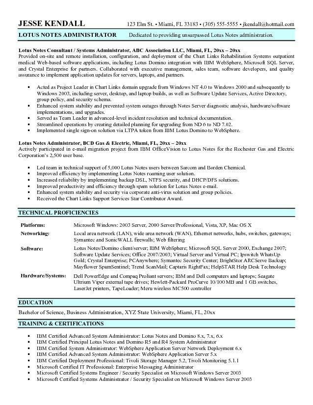 Example Lotus Notes Administrator Resume Sample
