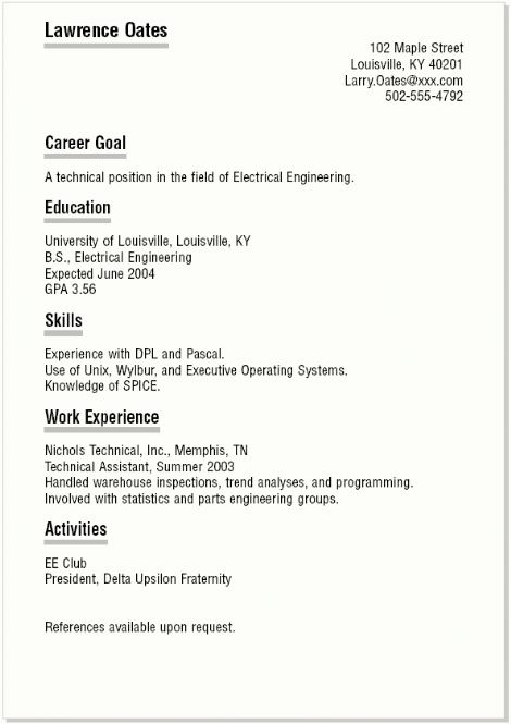 sample student resume student resume objective statement examples ...