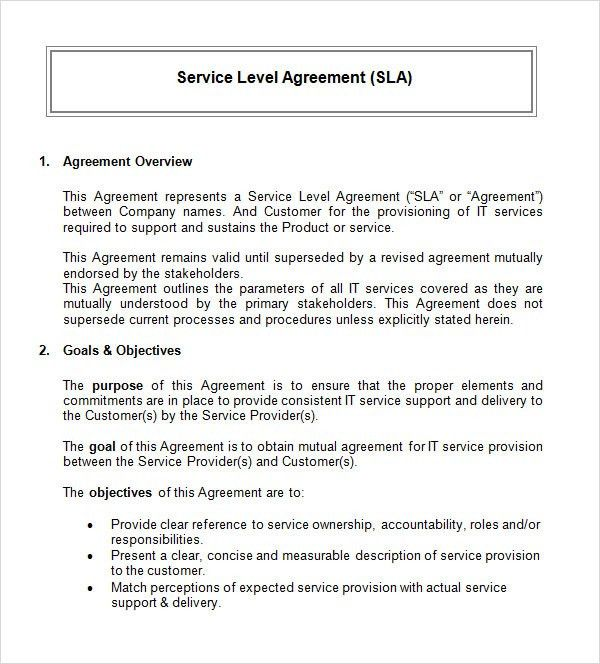 Service Level Agreement Template. Service Level Agreement Template ...