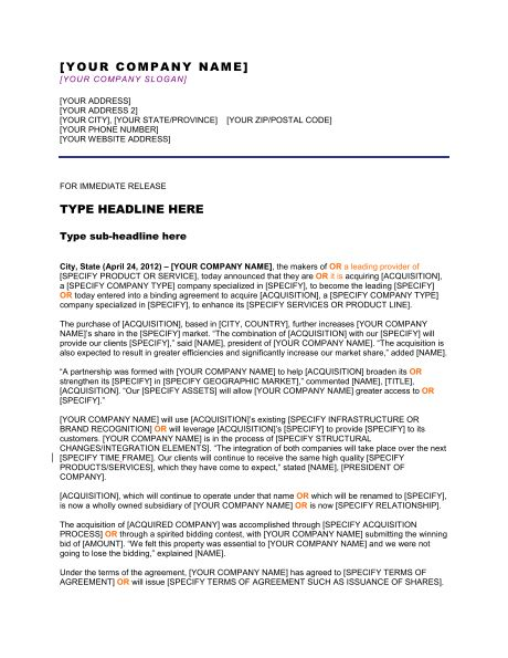 Press Release Company Has Reached a Milestone - Template & Sample ...