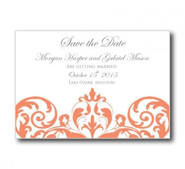 Wedding Save The Date Card Template - INSTANT DOWNLOAD - Damask ...