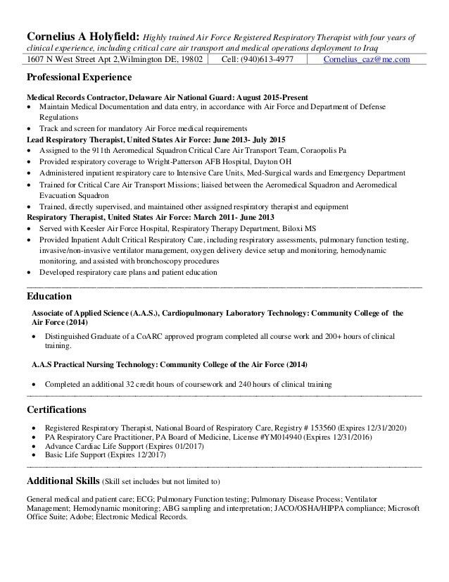 Sample Resume For Respiratory Therapist