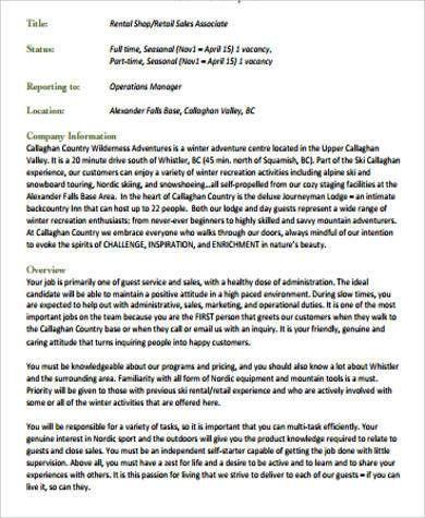 Sample Retail Sales Associate Job Description - 6+ Examples in ...