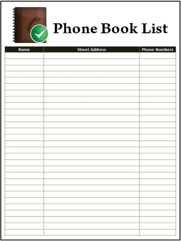 Address and phone book Template