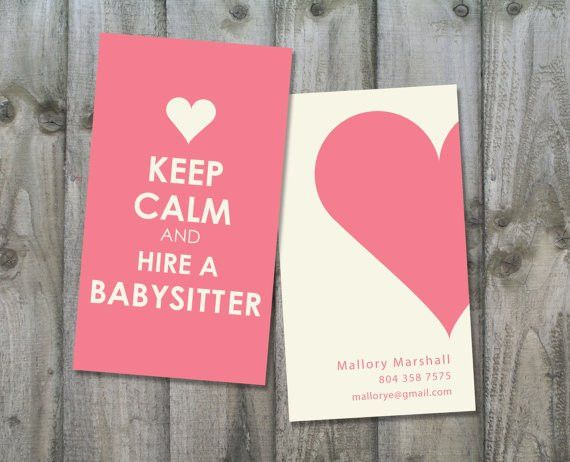Nanny/Babysitting Custom Business Card KEEP by CarolLnDesigns ...