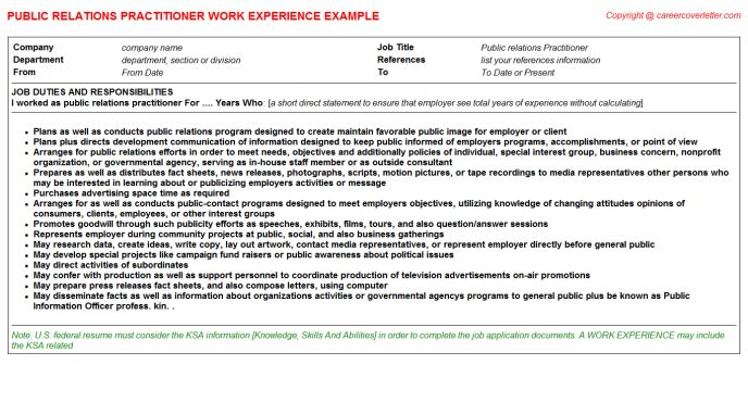 Public Relation Manager CV Work Experience Samples
