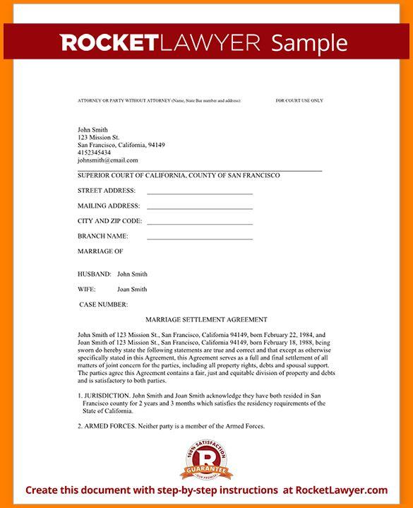Divorce Settlement Agreement.Sample Divorce Settlement Agreement ...
