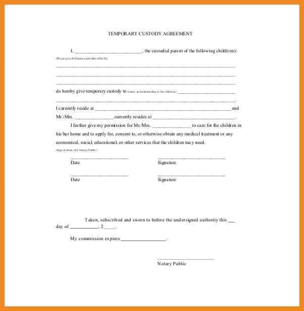 sample custody and visitation order agreement template. how to ...