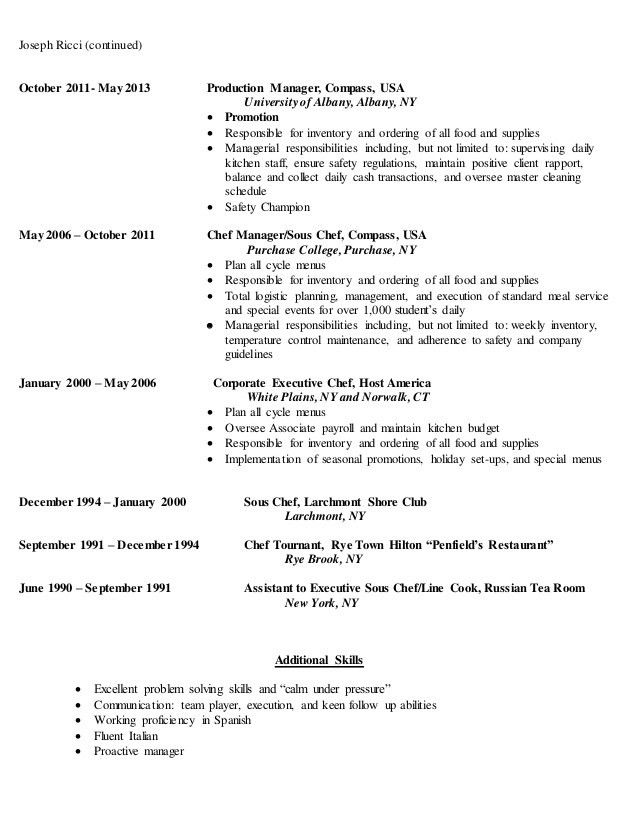Joseph Ricci Resume - Executive Chef Manager 2016