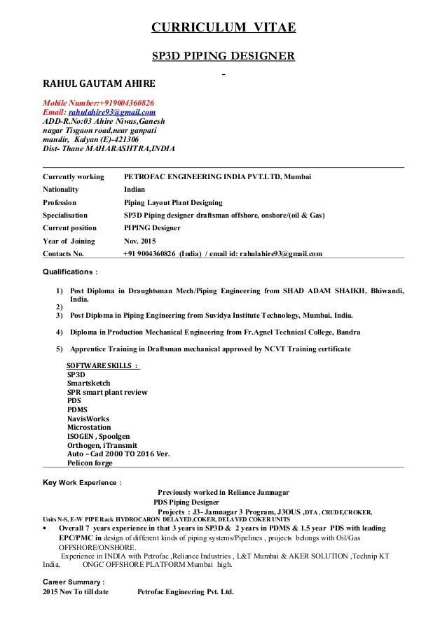 CV OF SP3D PIPING DESIGNER- RAHUL AHIRE