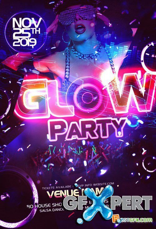 Free Party Flyer Template PSD - Neon Glow download