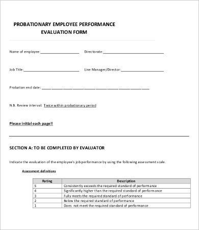 Performance Evaluation Form - 10+ Free Word, PDF Documents ...