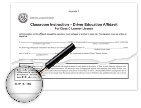 Texas Parental Driver Education Affidavit, DL-90A and DL-90B