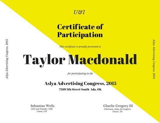 Bold Modern Participation Certificate - Templates by Canva