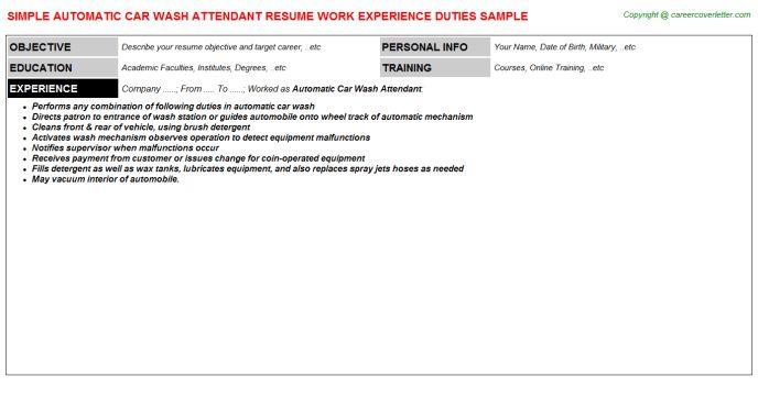 Automatic Car Wash Attendant Job Title Docs