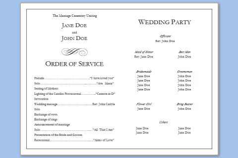 Folded Wedding Program Template – Wedding Programs Templates