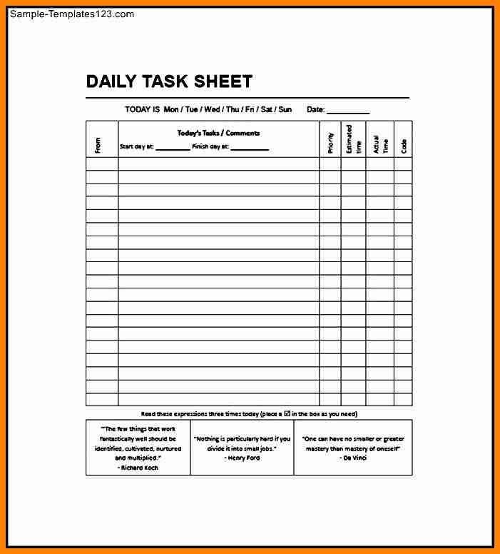 daily task sheet template