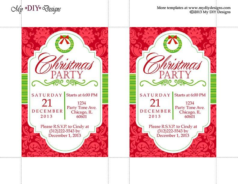 Free Printable Christmas Party Invitations Templates | THERUNTIME.COM