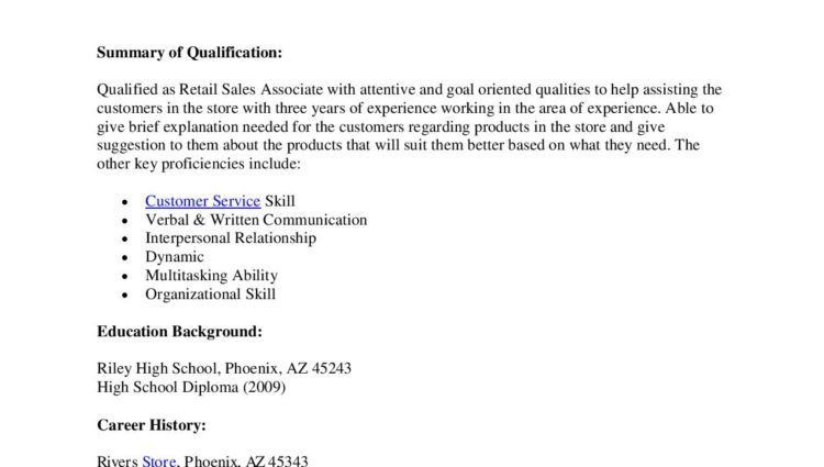 retail sales associate resume objective Retail Sales Associate ...