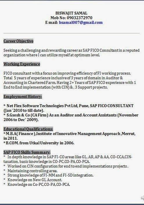 Mesmerizing Sap Fico Resume Sample Pdf 54 With Additional Cover ...