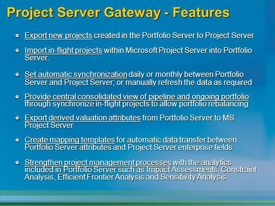 MS Office Project Portfolio Server Overview of Project Server ...