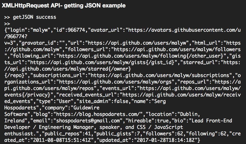 XMLHttpRequest API- getting JSON example