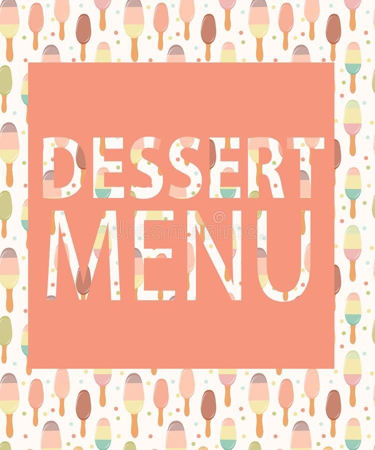 Dessert Menu Template. Vector Illustration Royalty Free Stock ...