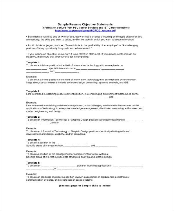 Homely Ideas Resume Objective Statement Examples 4 Professional ...