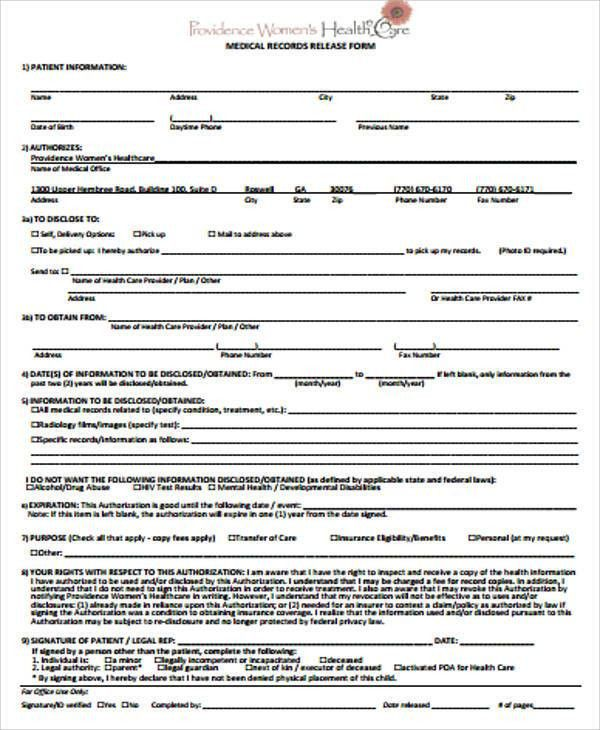 Medical Record Release Form Sample - 9+ Examples in Word, PDF